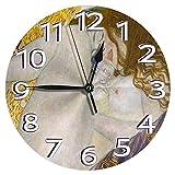 時計 壁掛け時計アナログクロックインテリア円形 静音 グスタフ・クリムト・ダナエ 印刷 掛置兼用フラットフェイス 家寝室居間 直径25cm 部屋装飾