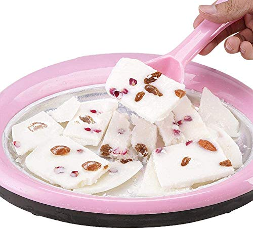 Family in Softeismaschine,Teppanyaki Platte Eiscreme Rollen Maschine -Teppanyaki Platte Zum Zubereiten Von EIS Rolls Aus Speiseeis EIS Teppanyaki Selber Bauen (Rosa)