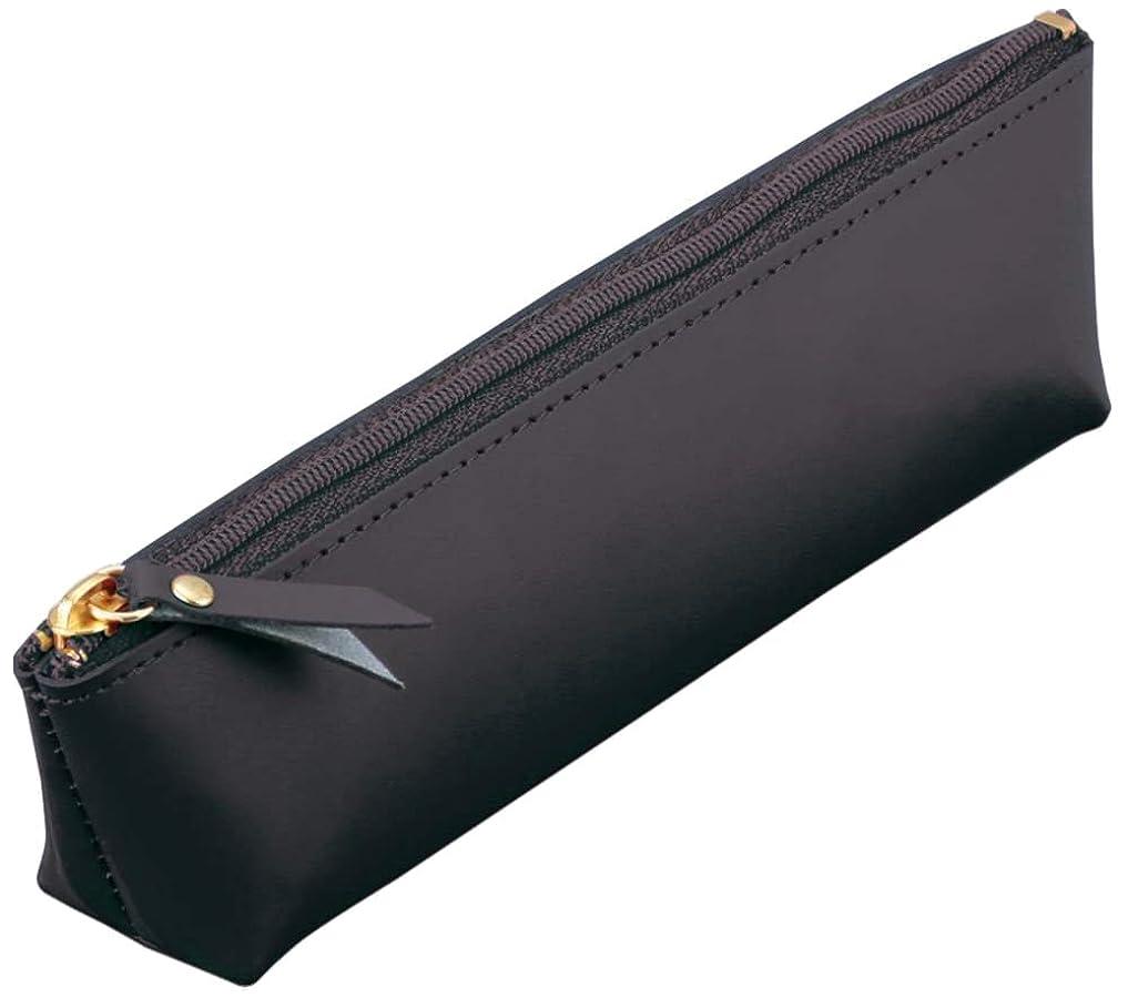 困難準備君主レイメイ藤井 ペンケース グロワール フラット ブラック 本革 GLF1502B