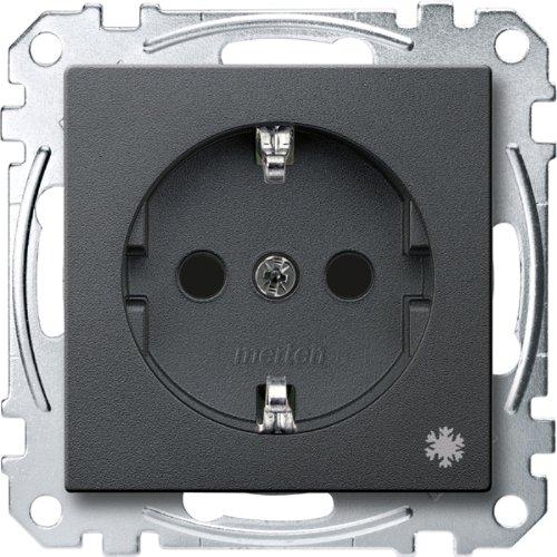 Merten MEG2354-0414 Schuko-stopcontact met aanduiding Koelkast, BRS, steekklemmen, antraciet, systeem M