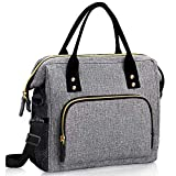 Insulated Lunch Bag-Large Lunch Tote Bag with Adjustable Shoulder Strap, Leakproof Reusable Cooler Lunch Bags for Women and Men Work Office School Picni Grey