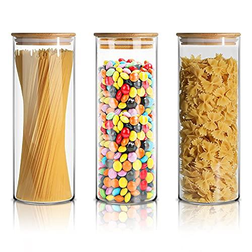 SPEEDSPORTING Set di 3 barattoli in vetro con coperchio in bambù, 3 x 950 ml, ermetici e contenitori per alimenti, ideali per cucina, tè, spezie, zucchero