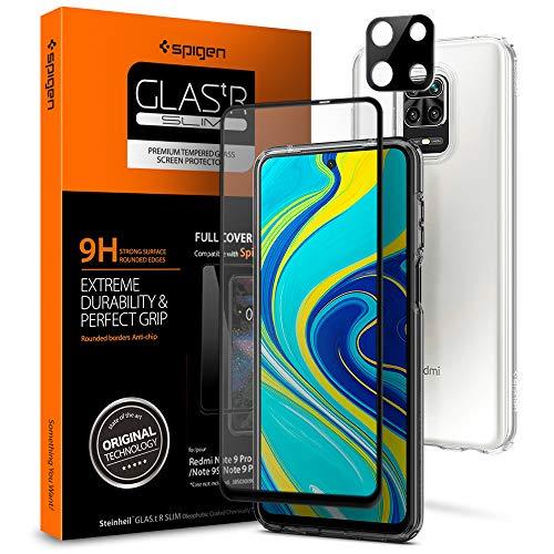 Spigen 【1枚入】 Xiaomi Redmi Note 9S / 9 Pro / 9 Pro Max ガラスフィルム + カメラ保護フィルム 【フルカバー】 全面保護 9H硬度 撥油加工 飛散防止 Redmi Note 9S / 9 Pro / 9 Pro Max 液晶+カメラフィルム セット 【FC Black】