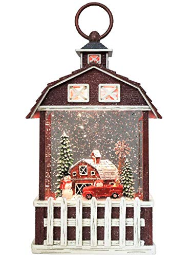"""Victory Creative Barn House Christmas Lighted Water Globe Lantern 9.5"""" H Musical Snow Globe with Swirling Glitter Battery Operated & Timer."""