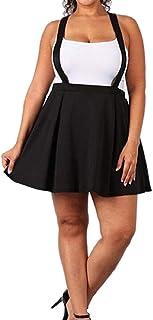 Keaac サスペンダーフレアプリーツプラスサイズスカート
