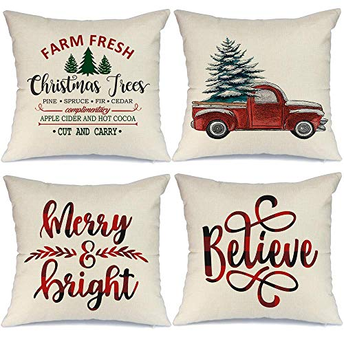LONLYTISA - Juego de 4 fundas de almohada navideñas (40 x 40 cm), diseño de casa de campo o casa de campo
