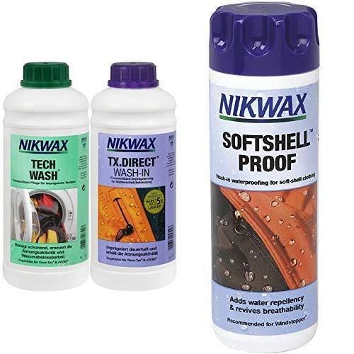 Nikwax Tech Wash Waschmittel + TX Direct Imprägnierung, 2x1 Liter, für Funktionsbekleidung & Nikwax Softshell Proof, Einwaschbare Imprägnierung für Softshells, 300 ml