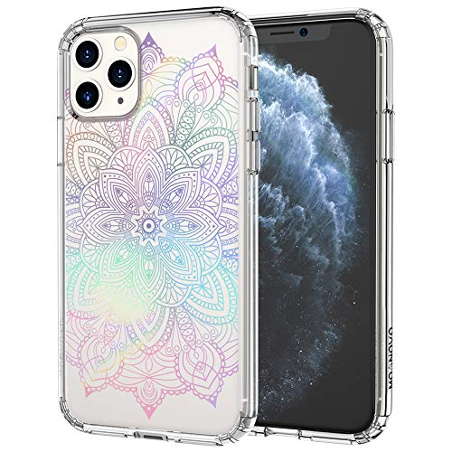 MOSNOVO iPhone 11 Pro Case, Rainbow Henna Mandala Pattern Clear Design Transparent Plastic Hard Back Case with TPU Bumper Protective Case Cover for Apple iPhone 11 Pro (2019)