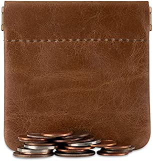 Genuine Leather Squeeze Coin Purse Pouch Made IN U.S.A. Change Holder For Men & Woman Size 3.5 X 3.5