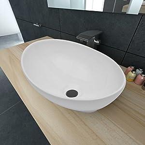 yorten Lavabo Ovalado de Cerámica con Orificio de Drenaje Diseño Moderno para Baño Cuarto de Aseo o Tocador Blanco 40×33 cm