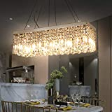 """Crystal Chandelier, 4-Light Modern Chandelier, Rectangle Raindrop Pendant Light Fixture for Dining Room Kitchen Island, E12 Bulbs Required, L33'x W10""""x H7"""""""