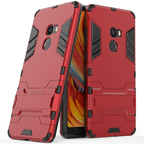 Case for Xiaomi Mi Mix 2 (5.99 inch) 2 in 1 Shockproof with Kickstand Feature Hybrid Dual Layer Armor Defender Protective Cover (Red)