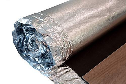 NostraSonic Alu Trittschalldämmung 2mm Stärke - optimal für schwimmend verlegte Böden, integrierte Dampfsperre, für Vinyl und Laminat, elastisch und widerstandsfähig - 15 qm pro Rolle (75qm)