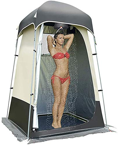 Pburzq Umkleide Wurfzelte Dusche Zelte, Umkleidezelt Outdoor wasserdichte Schatten Camping Duschzelt, 200D Oxford Tuch Silber Datenschutz, Multi-Pocket, Verstellbare Schnalle Camping Locker Zelt