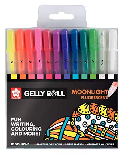 Sakura POXPGBMOO12 - Pack de 12 bolígrafos fluorescentes de gel, Multicolor