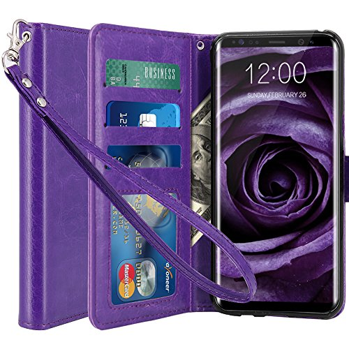 LK Case for Galaxy S8 Plus, [Wrist Strap] Luxury PU Leather Wallet Flip Protective Case Cover with Card Slots and Stand for Samsung Galaxy S8 Plus (Purple)