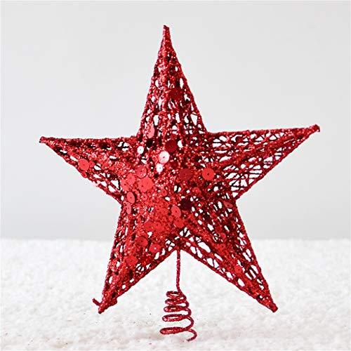 Z-HOMZYY Star Tree Topper Pentagram Kerst Decoratie Vakantie Decoratie Kerstmis Traditionele Boom Decoratie Home Decoratie 15cm Rood