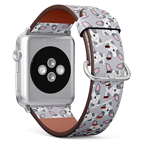 Compatible with Apple Watch Serie 6/5/4/3/2/1 (Small Version 38/40 mm) Leather Wristband Bracelet Replacement Accessory Band + Adapters - French Bulldog
