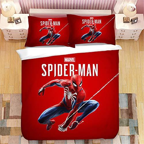 DFTY Bettwäsche-Set Bettbezug 2/3 Stück 3D Druck Spiderman Kind Bettwäsche Aus 100% Polyester Mit Kissenbezug Junge (1,140X210CM)