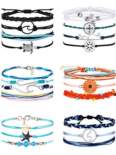 21 Pieces Surfer Wave Bracelet O...