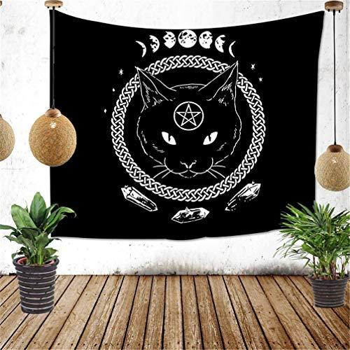 Amiiba Schwarze Katze Wandteppich Mysteriöse Wahrsagung Tapisserie Wandbehang Hexerei Heimdekoration für Schlafzimmer Wohnzimmer (Katze, L – 200,7 x 149,9 cm)