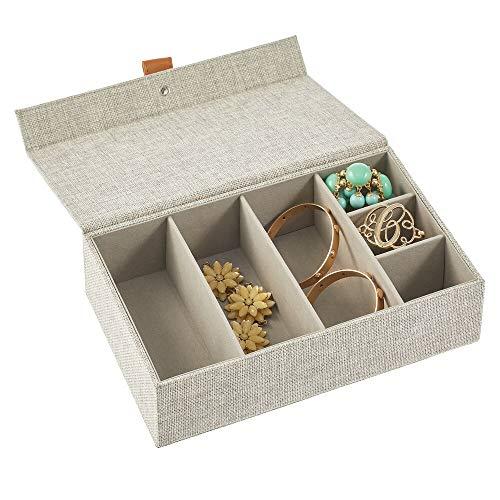 mDesign Joyero – Caja con tapa con 6 compartimentos de tela en 2 tamaños diferentes – Cajas organizadoras para pendientes, collares, pulseras, anillos y relojes – gris claro