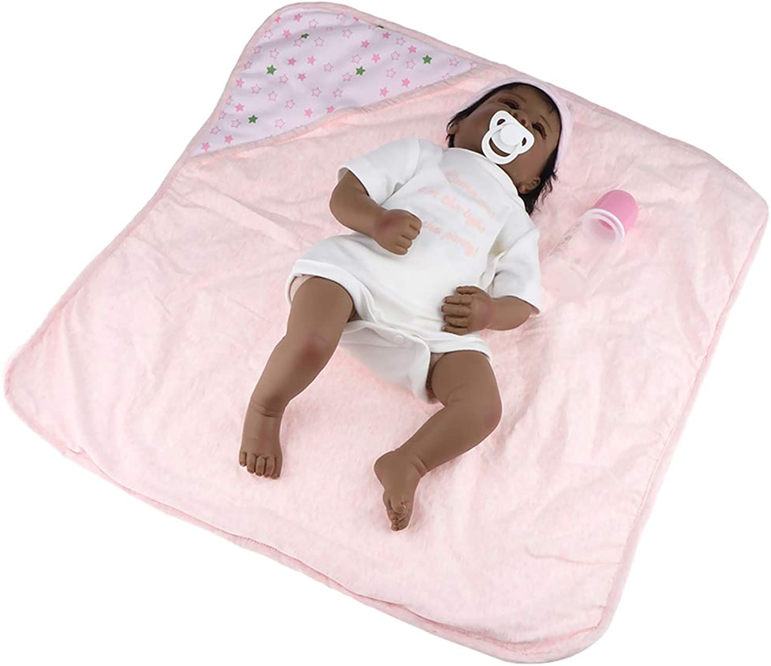 Perfk 20inch 50cm Real Looking Baby Boy Black Doll Silicone Full Body, for Toddlers