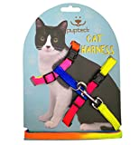 PUPTECK Adjustable Cat Harness Nylon Strap Collar with Leash Black (Colorful)