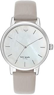kate spade new york Women's Clocktower Gray Leather and Silvertone Metro Watch