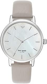 kate spade new york Women's Clocktower Gray Leather and Silvertone Metro Watch