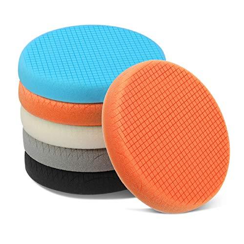MATCC Polishing Buffing Pads Foam Polishing Buffing Pads 5 Pcs 6 Inch (150mm) Waxing Pads kit for Drill Buffer Polisher Matching Velcro Backing Pad