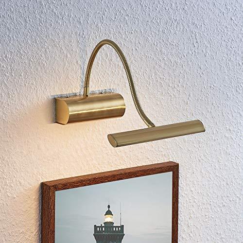 Lindby LED Wandleuchte, Wandlampe Innen 'Rakel' (Modern) in Gold/Messing aus Metall u.a. für Wohnzimmer & Esszimmer (1 flammig, A+, inkl. Leuchtmittel) - Bilderleuchte, Wandstrahler, Wandbeleuchtung