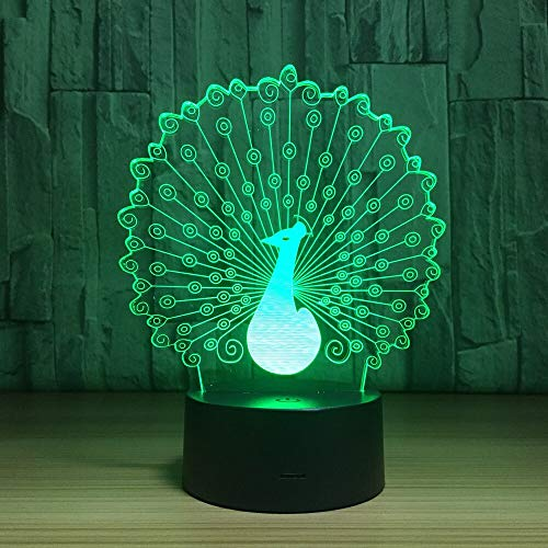 Peacock 3D Usb Lámpara Led Led 7 Cambio de color Luz nocturna Cool Niños Chica Dormitorio Decoración Regalo