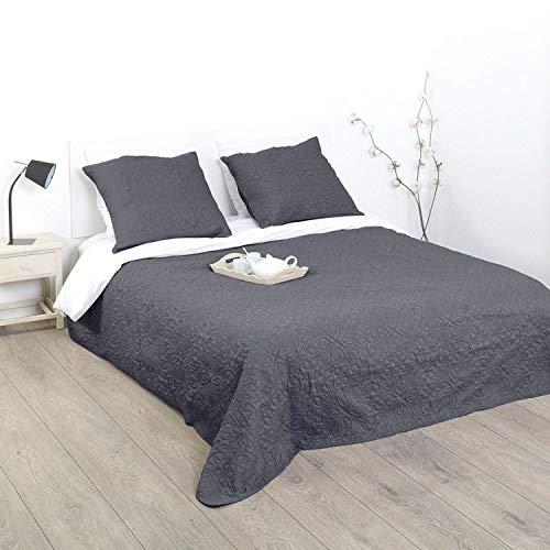 Ensemble Dessus de lit matelassé avec ses 2 Housses de coussin - Doux et chaleureux - Grande taille - Coloris GRIS Foncé