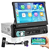 Podofo Single Din Touchscreen Car Stereo Compatible with Apple Carplay and Android Auto, 7 Inch Flip Out Car Audio Receiver-Mirror Link Bluetooth SWC FM Radio USB/TF/AUX Port Backup Camera(45ft Cable)