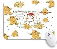 ECOMAOMI 可愛いマウスパッド ジンジャーブレッドマンと雪だるま 滑り止めゴムバッキングマウスパッドノートブックコンピュータマウスマット
