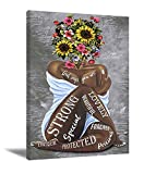 African American Wall Art Black Queen Girl Head Flowers Poster Black Girl Artwork Floral Girl Art Prints For Bedroom Living Room Abstract Contemporary Canvas Prints Painting Home Decor 16X24 Inch