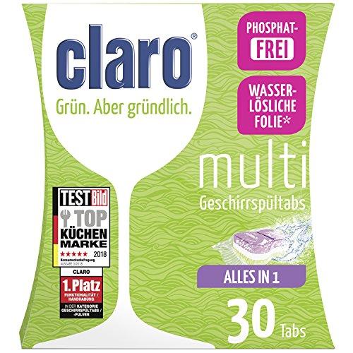 claro Multi Tabs – phosphatfreie Alles in 1 Öko Spülmaschinentabs im Sparpaket 30 Stück Packung