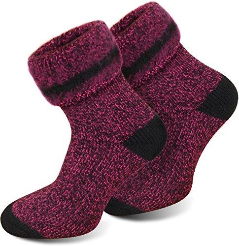 3 Paar Thermostrümpfe/Thermosocken - mit Vollplüsch und Schafswolle, Extra Warm und Perfekt für Stiefel geeignet Farbe Extrem/Hot/Pink meliert Größe 39/42