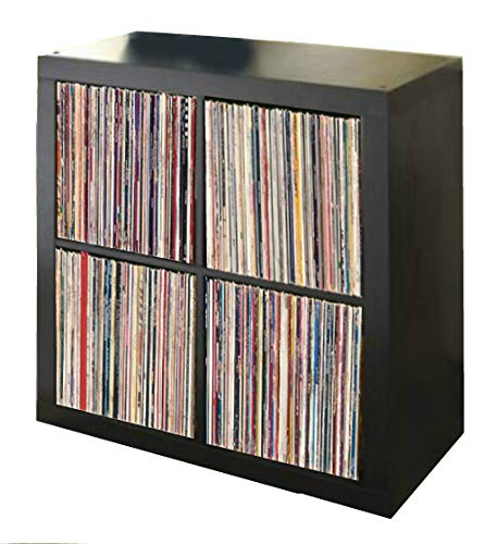 Vinyl Record Storage Shelf | LP Record Album Storage | Vinyl Record Storage Cube, Rack, Cabinet, Bookcase, Organizer for Vintage LP Records | 4 Cube Square Organizer by VRSS (Espresso)