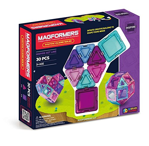 Magformers Inspire Clear 30 Pieces, Pink and Purple, Educational Magnetic Geometric Shapes Tiles Building STEM Toy Set Ages 3+