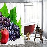 Duschvorhänge für Badezimmer, Obst, Weintraube, Apfel, wasserdichter Polyesterstoff, 183 x 183 cm, Heimdekoration, Badezimmer-Gardinen für Kinder, Mädchen, Jungen, mit 12 Haken