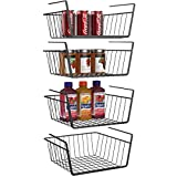 Under Shelf Basket, iSPECLE 4 Pack Black Wire Rack, Wire Basket Under Shelf for Storage, Easy to Install