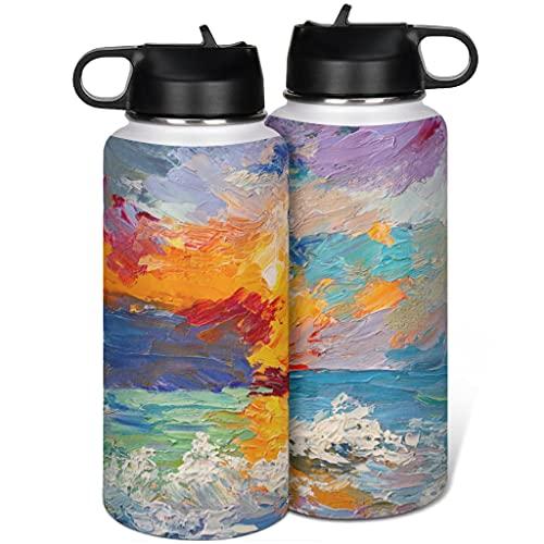 Pintura al óleo de acero inoxidable termo taza aislado vaso con tapa paja moderna para el deporte blanco 1000ml