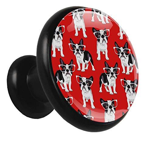 Xingruyun Manijas De Muebles Bulldog con Gafas Manijas del Armario Cocina Manijas Decorativo Perilla Mando Manijas para Oficina 3.2x3x1.6cm