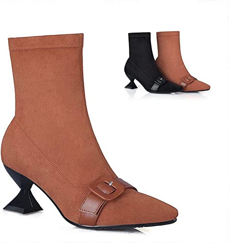 HhGold Damen Stiefel - Winter Rutschfeste warme Stiefel Fashion Point Square Root Stiefel   34-39 (Farbe   Kamel, Größe   34)