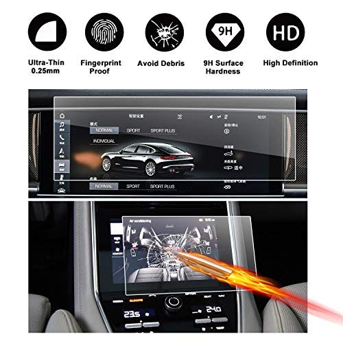 2017 2018 Porsche Panamera PCM Videos 12.3 Inch Car Navigation and Air Conditioning Display Screen Protector, RUIYA HD Clear Tempered Glass Center Touch Screen Protector