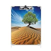 クリップボード A4 生命の木 子供の贈り物バインダー 砂丘の砂漠のツリードライだが生きている自然ハビタットライフ写真 A4 タテ型 クリップファイル ワードパッド ファイルバインダー 携帯便利ブルークリームグリーン