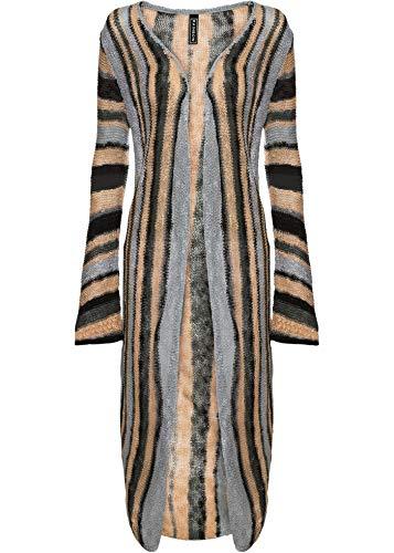 bonprix Stylisher Strickmantel mit Streifen anthrazit/beige/schwarz gestreift 36/38 für Damen