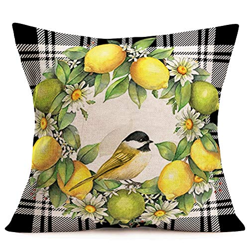 Smlyard Cute Animal Bird Farmhouse Pillow Covers Summer LemonDaisy Wreath Outdoor Decorative Cushion Cover Cotton LinenBuffalo Check Plaid Square Pillow Cases 18x18 Inch for Couch (Lemon&Bird)